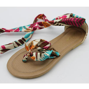 Buy Cheap Women Flat flip-flop Sandals Soft Casual Flower Print Ankle Strap Sandals Online - Supsandal