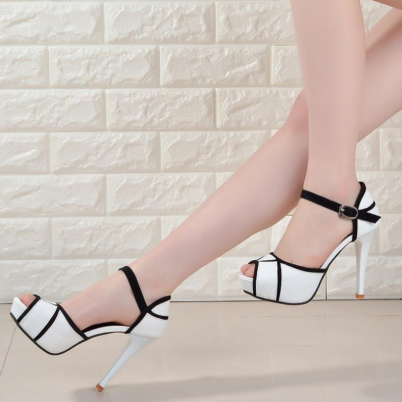 Buy Cheap Hollow Buckle Women's Fight Color Fish Mouth Fine with High Heels Sandals Online - Supsandal