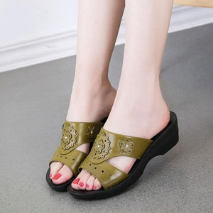 Buy Cheap Summer PU Leather Woman Slippers Slope Thick Soft Bottom Slip Sandal Shoes Online - Supsandal