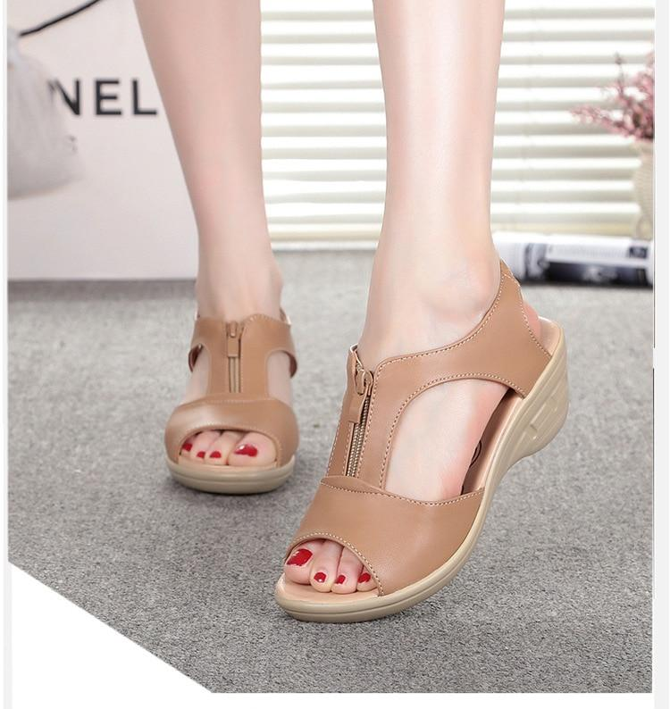 Buy Cheap Women Wedge Sandals Shoes Cow Genuine Leather Beach Zipper Sandals Online - Supsandal