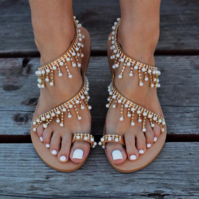 Buy Cheap Women Flat Pearl Comfortable String Bead Slippers Sandals Online - Supsandal