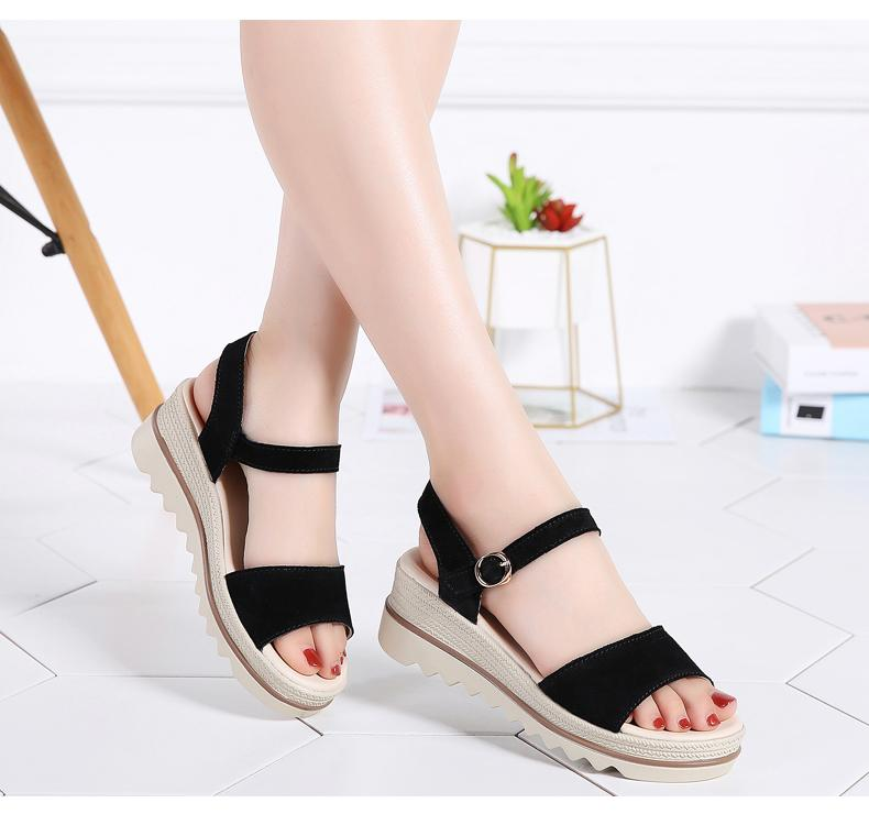 Buy Cheap Women Suede Leather Platform Sandals Shoes Peep Toe Beach Thick Sole Sandals Online - Supsandal