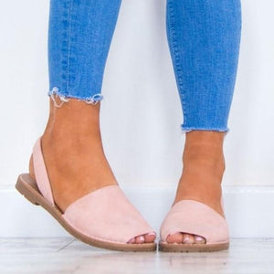 Buy Cheap Women Plus Size Flats Casual Peep Toe Faux Suede Slip On Elastic Sandals Online - Supsandal