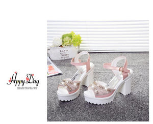 Buy Cheap Women Square High Heel Sandals Diamond Fish Mouth Thick Bottom Sandal Shoes Online - Supsandal