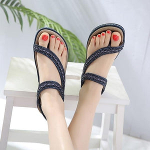 Buy Cheap Women Flat Sandals Shoes Bohemia Flip Flop Crystal Casual Beach Sandals Online - Supsandal