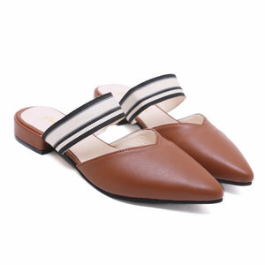 Buy Cheap Solid Women Slides Pointed Toe Sandals Square Heels Slipper Mules Shoes Online - Supsandal