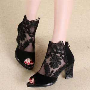 Buy Cheap Women Square High Heel Sandals Flower Lace Hollow Peep toe Gladiator Sandals Online - Supsandal