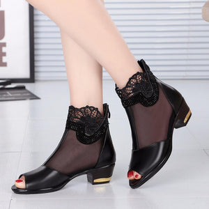 Buy Cheap Women Lace Sexy High Heel Sandals Shoes Black Mesh Peep Toe Shoes Online - Supsandal