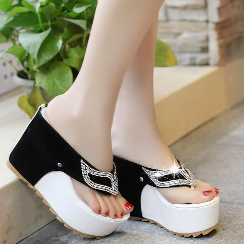 Buy Cheap Women Rhinestone Platform Sandal Flip Flops High Heels Wedges Beach Sandals Online - Supsandal
