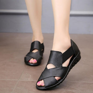 Buy Cheap Women Genuine Leather Gladiator Rome Sandals Shoes Wedge Heel Comfort Sandals Online - Supsandal