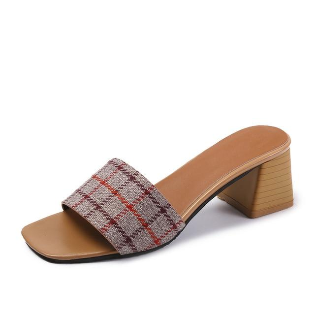 Buy Cheap Woman Peep Toe Chunky Heel Cotton Fabric Mules Comfortable Slippers Sandals Online - Supsandal