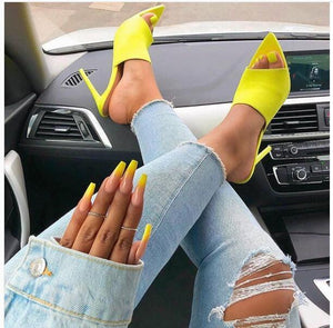 Buy Cheap Woman Fluorescent Green Mules Slip On Sandals Peep Toe Slides High Heel Slippers Online - Supsandal