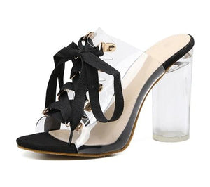 Buy Cheap Women PVC Transparent Gladiator Sandals Peep Toe Lace-Up Mule Slides Shoes Online - Supsandal