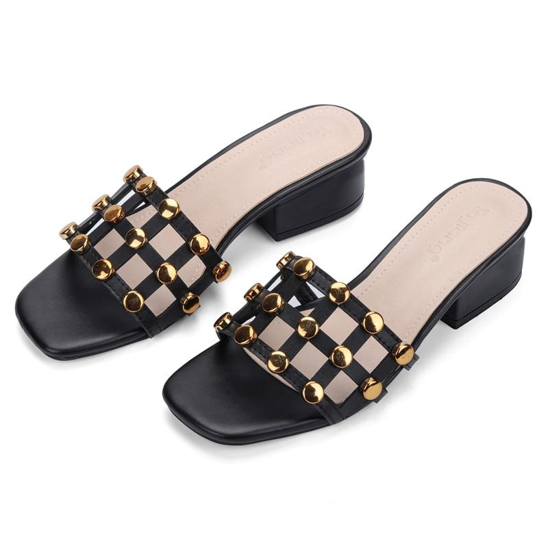 Buy Cheap Genuine Cow Leather Rivets Women Square High Heels Gladiator Sandals Beach Slippers Online - Supsandal