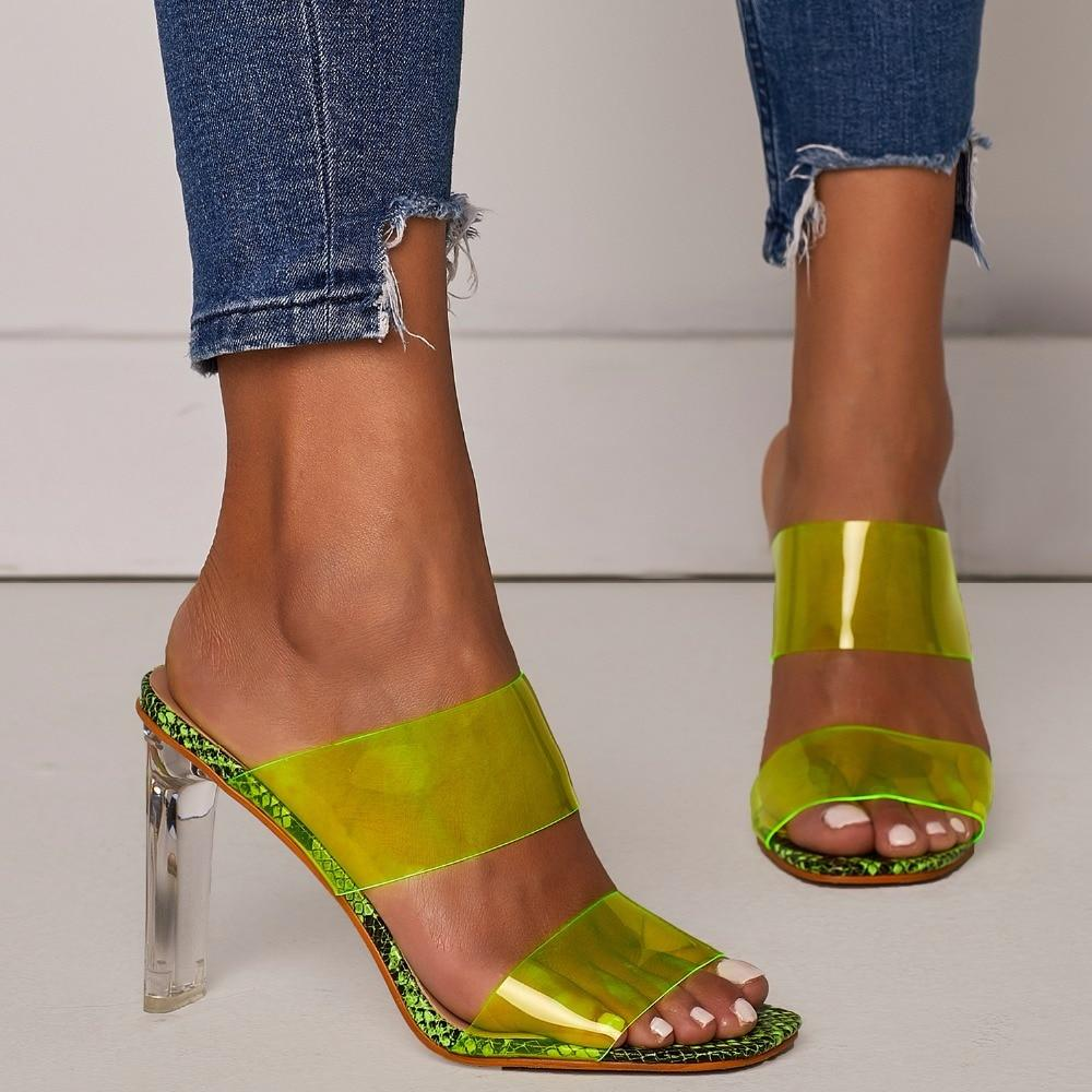 Buy Cheap Women's Crystal Open Toed Mules Transparent High Heeled Sandal Slippers Online - Supsandal