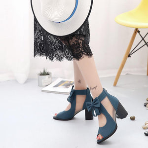 Buy Cheap Women Square High Heel Sandals Sexy Peep Toe Bowtie Thick Mesh Sandal Shoes Online - Supsandal