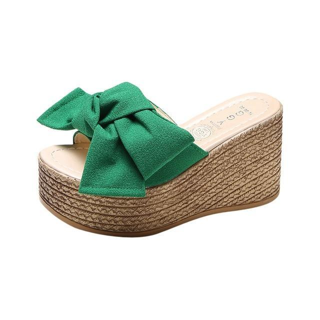 Buy Cheap Women Wedge Sandals Solid Thick Bottom Slipper Shoes Online - Supsandal