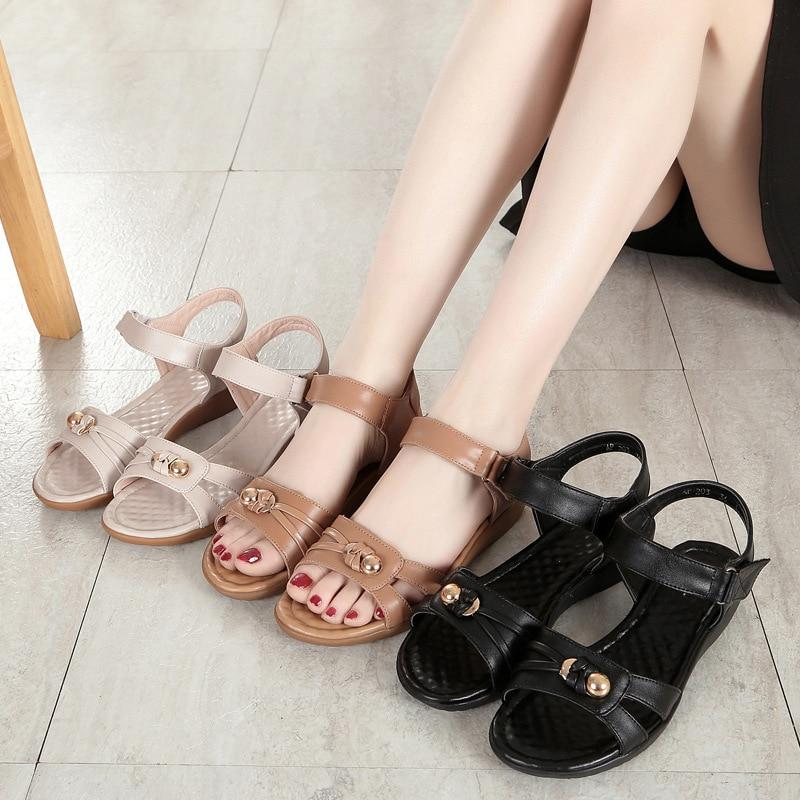 Buy Cheap Mother Women Genuine Leather Large Size Soft Soled Style Comfortable Sandals Online - Supsandal