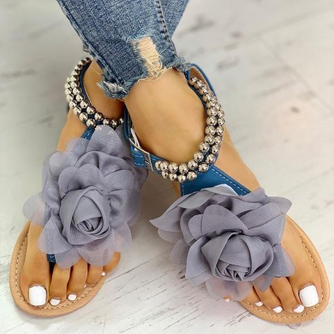 Buy Cheap women summer beach sandals flats shoes woman flat bohemia sandalias plus size pearls flowers deco mujer sapato feminino H1279 Online - Supsandal