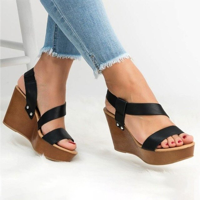 Buy Cheap women summer beach sandals high heels pumps plus size wedges shoes woman vintage PU leather sandalias mujer sapato feminino D164 Online - Supsandal
