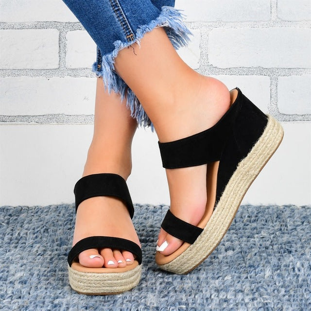 Buy Cheap women summer beach sandals high heels pumps wedges shoes woman one-strap open toe slippers sandalias mujer sapato feminino D081 Online - Supsandal