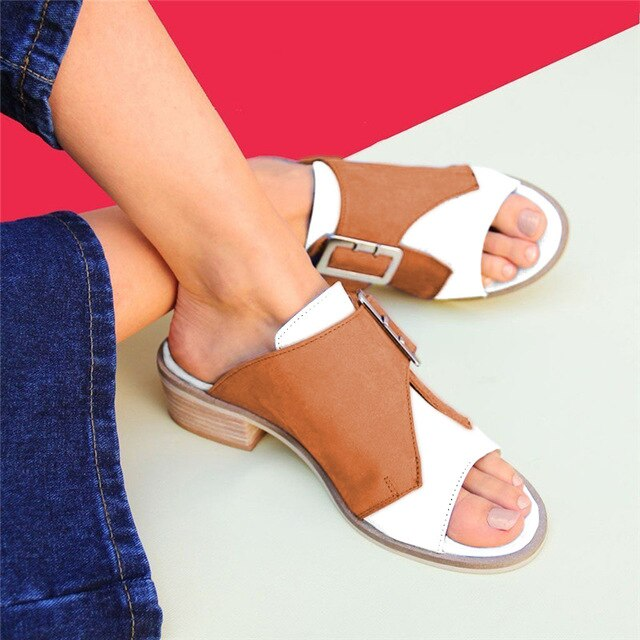 Buy Cheap women summer beach sandals low heels shoes woman plus size PU leather open toe slippers sandalias mujer sapato feminino D097 Online - Supsandal