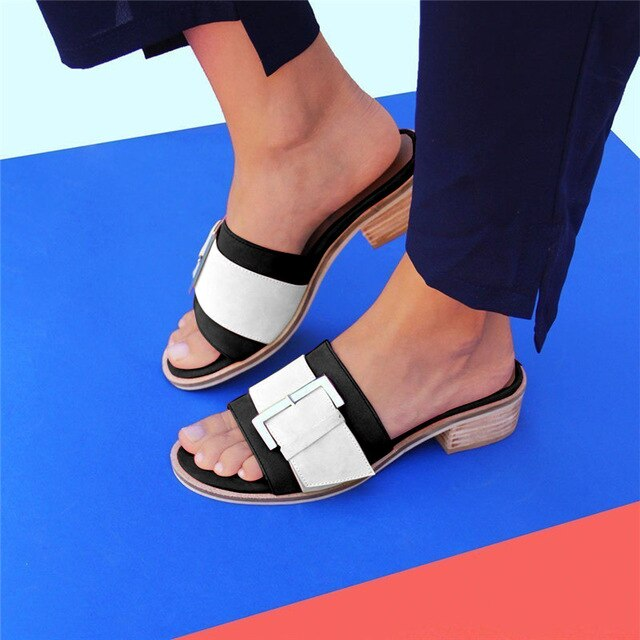 Buy Cheap women summer beach sandals low heels shoes woman plus size PU leather open toe slippers sandalias mujer sapato feminino D096 Online - Supsandal