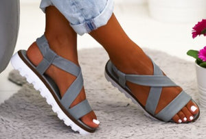 Buy Cheap women summer beach sandals low heels wedges shoes woman gladiator plus size PU leather sandalias mujer sapato feminino D087 Online - Supsandal