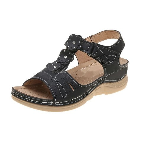 Buy Cheap women summer beach sandals mid heels plus size shoes woman vintage PU leather flowers deco sandalias mujer sapato feminino D146 Online - Supsandal