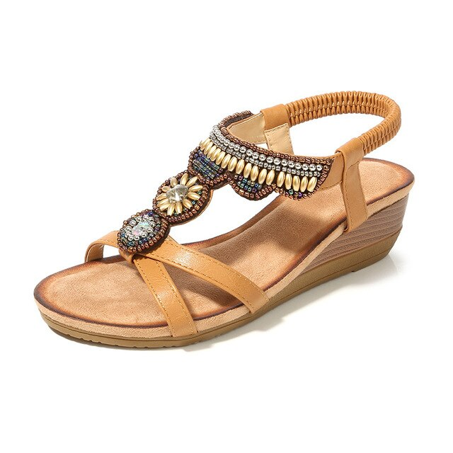 Buy Cheap women summer beach sandals mid heels wedges shoes woman beads crystal bohemia plus size PU sandalias mujer sapato feminino D112 Online - Supsandal