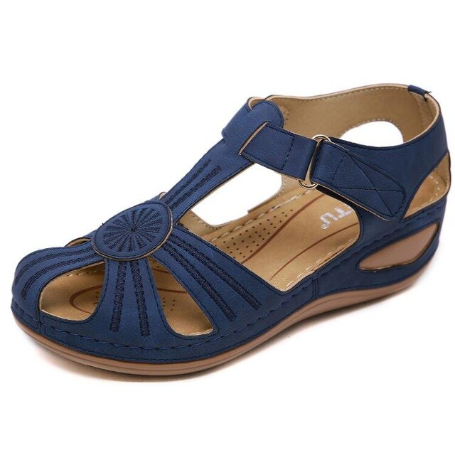 Buy Cheap women summer beach sandals mid med heels wedges shoes woman vintage PU leather gladiator sandalias mujer sapato feminino H1258 Online - Supsandal