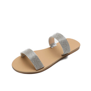 Buy Cheap women summer flats sandals shoes woman slippers slides shiny crystal deco fashion outdoor sandalias mujer sapato feminino H455 Online - Supsandal