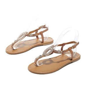 Buy Cheap women summer plus size sandals flats shoes woman thong PU leather bohemia shiny crystal sandalias mujer sapato feminino H1592 Online - Supsandal