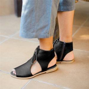 Buy Cheap women summer sandals flats  plus size shoes woman PU leather lace up peep toe gladiator sandalias mujer sapato feminino D234 Online - Supsandal