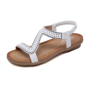 Buy Cheap women summer sandals flats shoes woman PU leather plus size bling shiny crystal bohemia sandalias mujer sapato feminino D240 Online - Supsandal