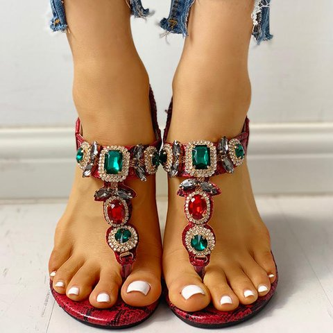 Buy Cheap women summer sandals flats shoes woman PU leather plus size shiny bling crystal bohemia flip sandalias mujer sapato femininoD247 Online - Supsandal