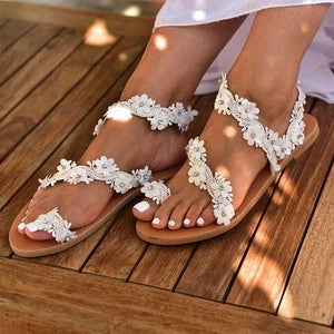 Buy Cheap women summer sandals flats shoes woman flip thong bohemia flowers lace deco slip on crystal sandalias mujer sapato femininoH1586 Online - Supsandal