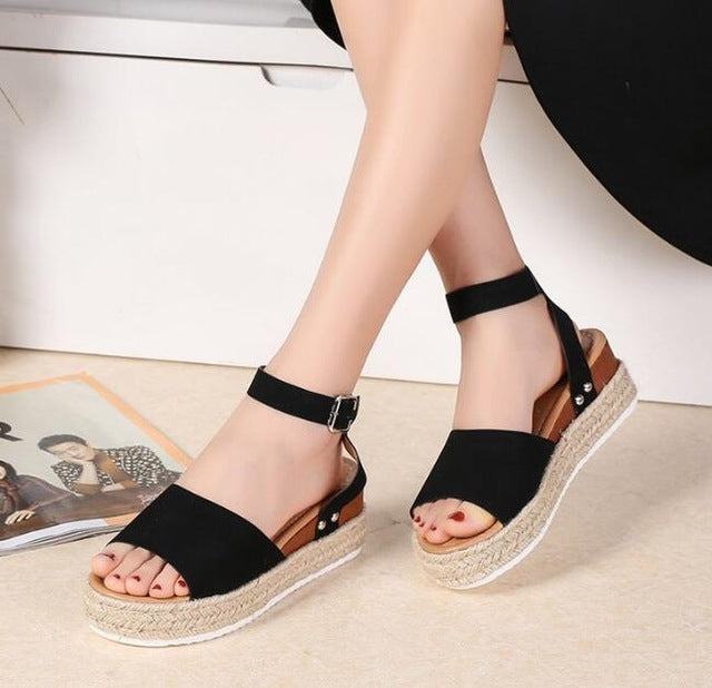 Buy Cheap women summer sandals ladies vintage PU leather wedge shoes woman chunky mid heels peep toe zapatos de mujer sandalias D33025 Online - Supsandal