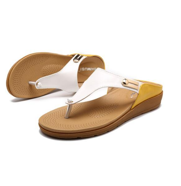 Buy Cheap women summer sandals low heels wedges shoes woman vintage PU leather slippers flip thong sandalias mujer sapato feminino D011 Online - Supsandal