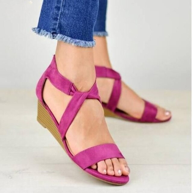 Buy Cheap women summer sandals mid heels shoes woman fabric plus size gladiator peep toe plus size sandalias mujer sapato feminino D256 Online - Supsandal
