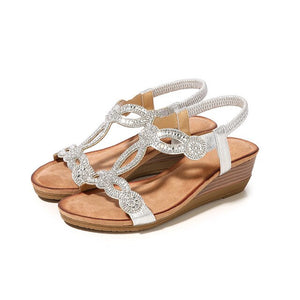 Buy Cheap women summer sandals mid heels wedges shoes woman bohemia plus size shiny crystal deco sandalias mujer sapato feminino D061 Online - Supsandal
