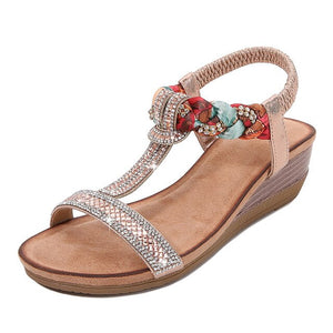 Buy Cheap women summer sandals mid heels wedges shoes woman bohemia plus size shiny crystal deco sandalias mujer sapato feminino D063 Online - Supsandal