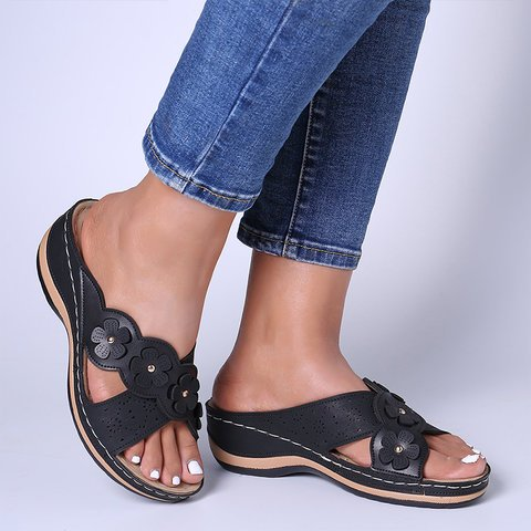 Buy Cheap women summer sandals mid heels wedges shoes woman vintage PU slippers slides gladiator sandalias mujer sapato feminino H1278 Online - Supsandal