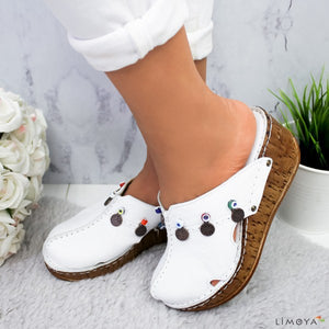 Buy Cheap women summer sandals wedges shoes woman vintage PU close toe high heels slippers slides zapatos mujer chaussure femme HP1515 Online - Supsandal