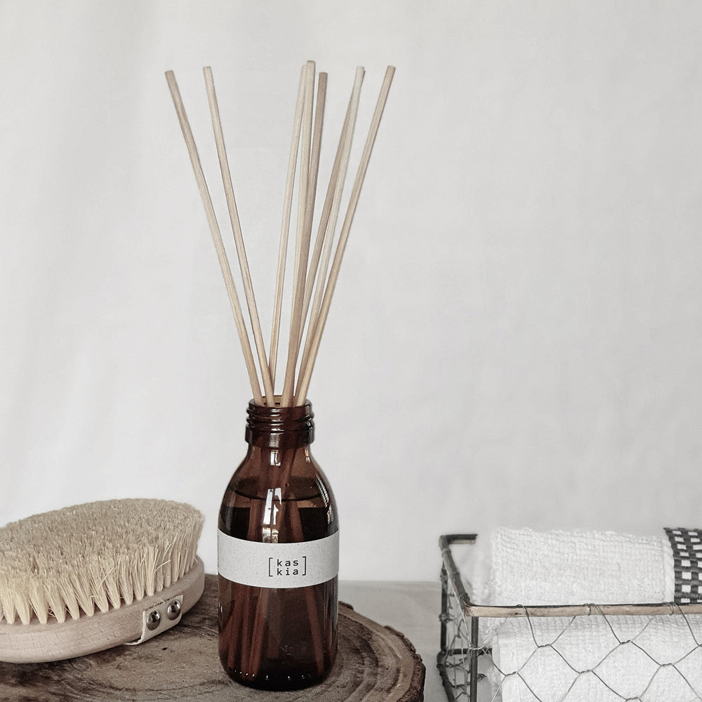 Kaskia blossom reed diffuser, amber bottle