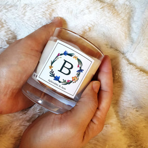 Alphabet Vegan Candle hand-poured with plant-based wax and wooden wick