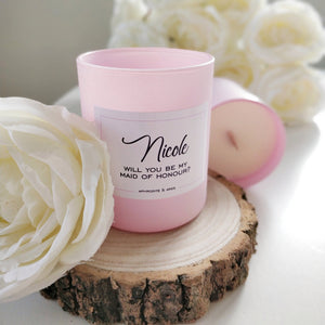Will you be My Bridesmaid? Personalised Vegan Candle with wooden wick