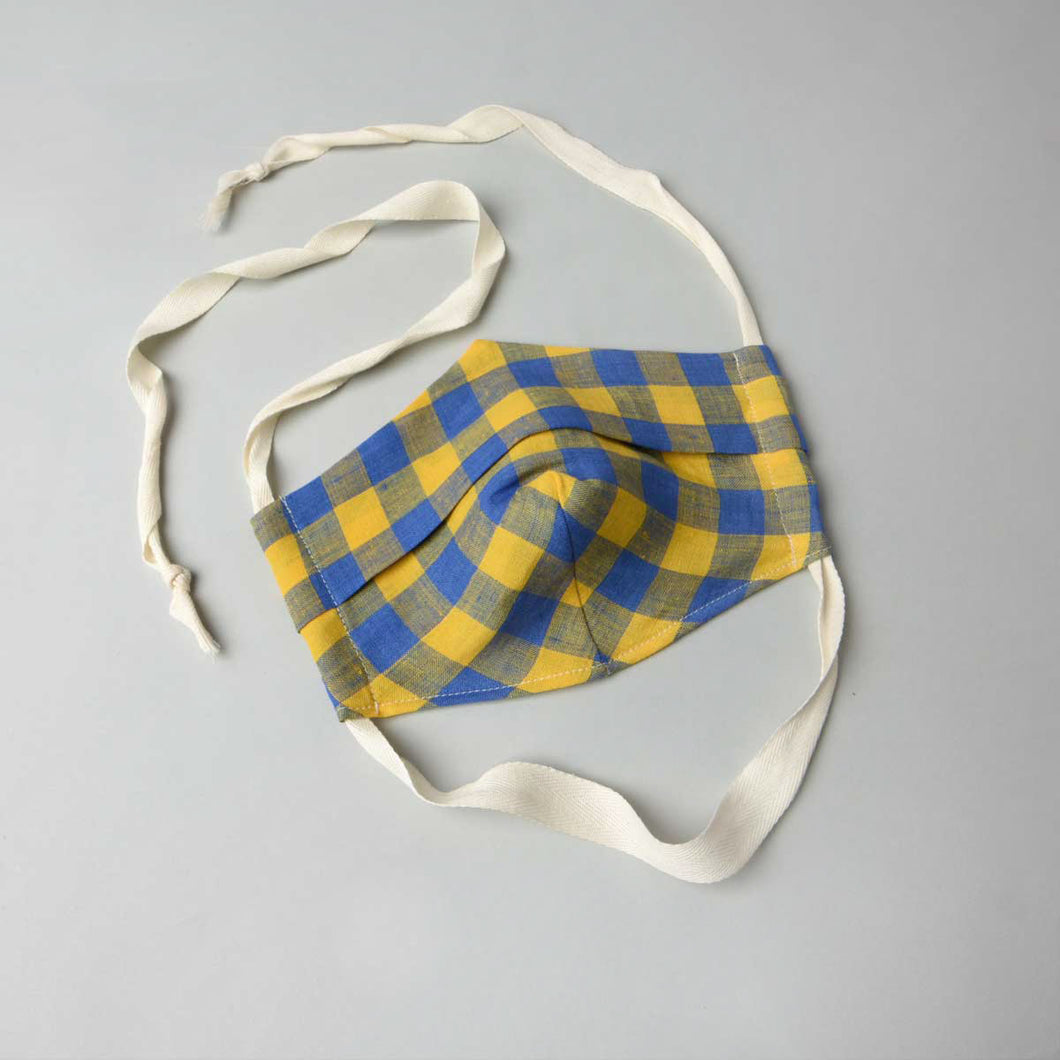 face mask woven linen blue mask