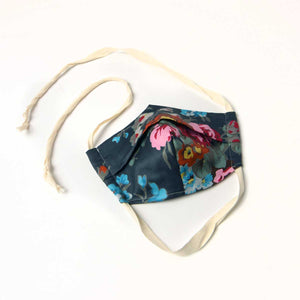 cloth face mask, gray floral