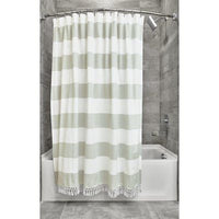 Wide Stripe With Fringe Shower Curtain - Sage
